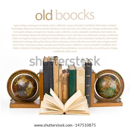 books in a row, isolated on white background. With clipping path - stock photo