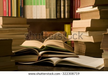 books in a study room  - stock photo