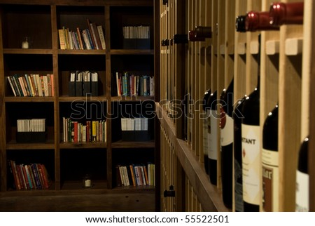 books in a wine cellar - stock photo
