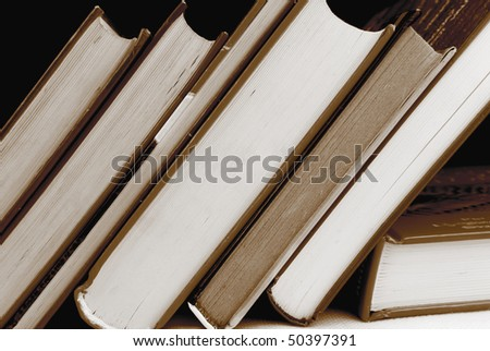books in black and white color - stock photo