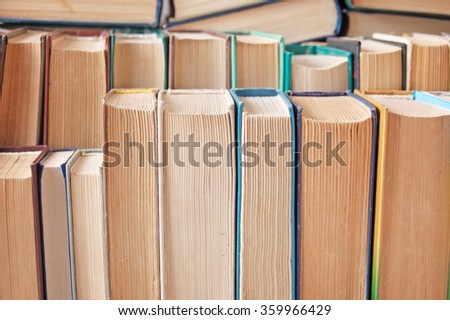 Books in the book shelf - stock photo