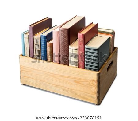 Books in the box - stock photo