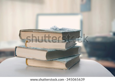 Books in the office - stock photo