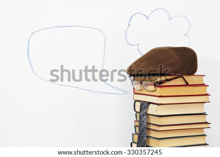 Books it is unusual awaking imagination and everything the explaining teacher - stock photo