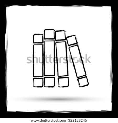 Books library icon. Internet button on white background. Outline design imitating paintbrush.