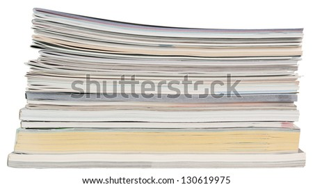 Books, magazines and brochures. Objects isolated on white background, without shadows. - stock photo
