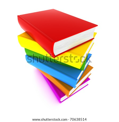 Books multicolor in pile top view isolated on white