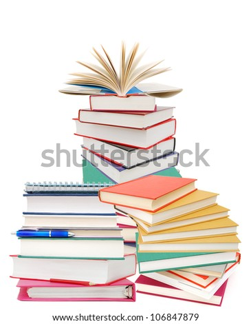 Books of pile isolated white - stock photo