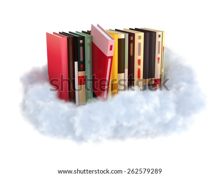 Books on a cloud stockphoto cloud technology concept. - stock photo