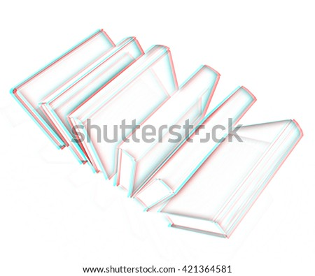 books on a white background. Pencil drawing. 3D illustration. Anaglyph. View with red/cyan glasses to see in 3D.