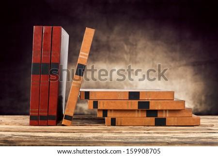 books on desk  - stock photo