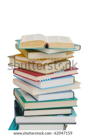 Books on isolated white - stock photo