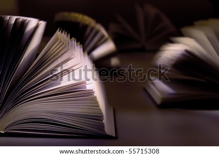 Books on the dark background - stock photo