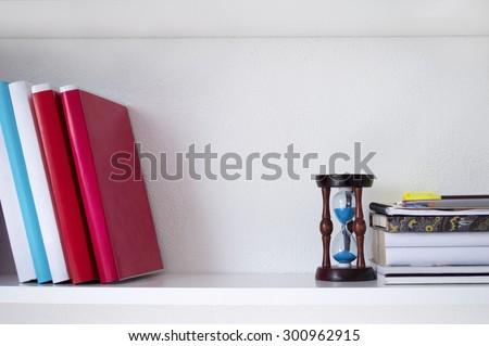Books on the shelf - stock photo