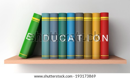 books on the shelf and the inscription education