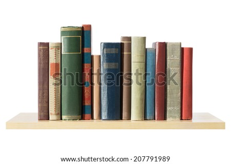 Books on the shelf, isolated. - stock photo