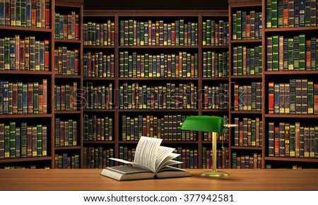 Books on the table in the focus on the blurred background bookshelf full of books. Concept of library. - stock photo