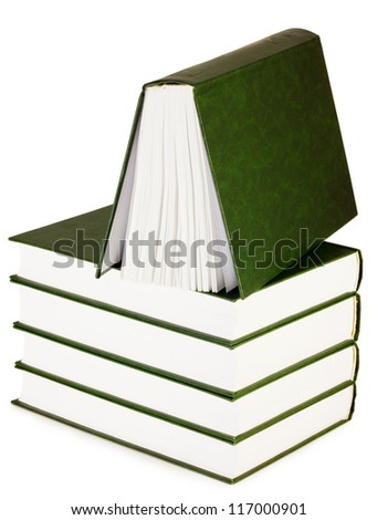 books on white background - stock photo