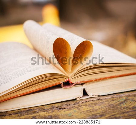 books on wooden bench  - stock photo