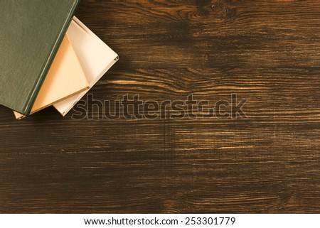 Books On Wooden Desk./ Books On Wooden Desk. - stock photo