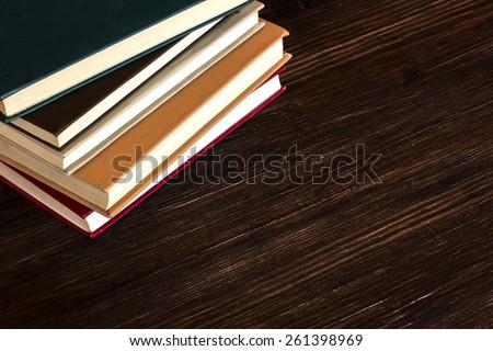 Books On Wooden Desk./ Books On Wooden Desk. - stock photo
