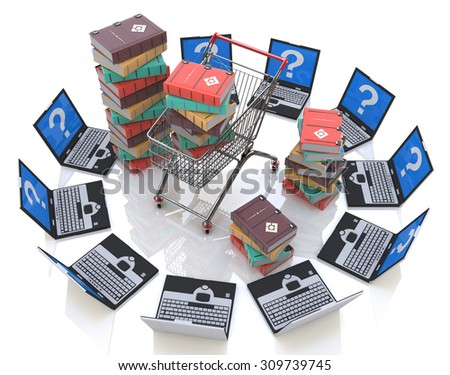 Books online. Buying of books  - stock photo