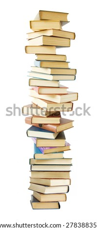 Books pile isolated on white background - stock photo