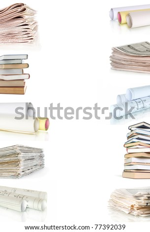 books  plans newspapers collection isolated on white - stock photo