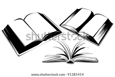 Books. Raster illustration