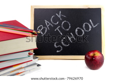 Books ready for back to school - stock photo