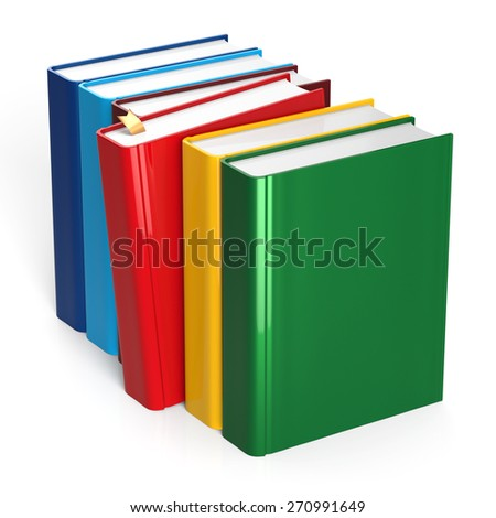 Books row colorful selecting red blank covers standing textbook template. School studying grab bookmark education content icon concept. 3d render isolated on white background - stock photo