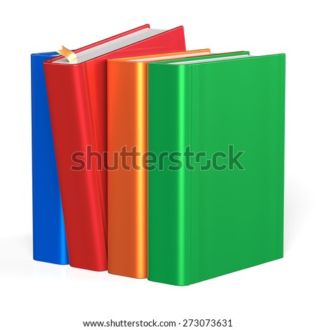 Books row four selecting red blank covers colorful standing textbook template. School studying grab need information content icon concept. 3d render isolated on white background - stock photo