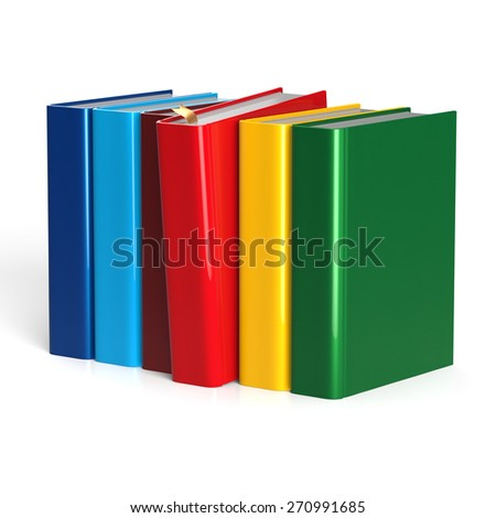 Books row selecting red blank covers colorful standing textbook template. School studying grab information content icon concept. 3d render isolated on white background - stock photo