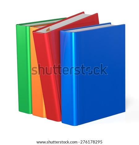 Books selecting bookshelf take one from four books row grab blank covers colorful standing choosing template. School studying knowledge content icon concept. 3d render isolated on white - stock photo