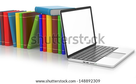 books set with laptop, education concept - stock photo