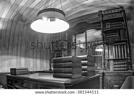 Books Shelf inside a library - stock photo