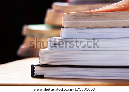 books stack close up - stock photo