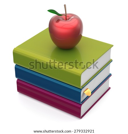 Books stack colorful red apple textbooks education studying reading learning school college knowledge literature idea wisdom icon concept. 3d render isolated on white - stock photo