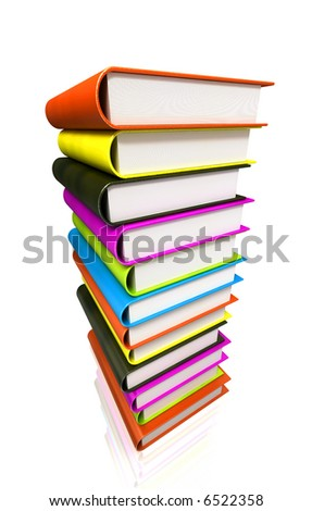 Books stack 3d render isolated on white. Back to school. Education, university, college symbol or knowledge, books stack, publish, page paper. Design element