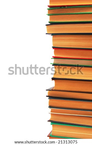 books stack isolated on a white