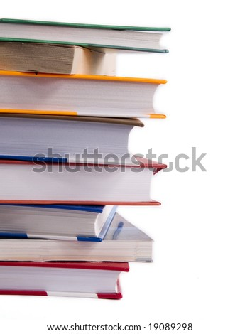 Books stack isolated on a white background