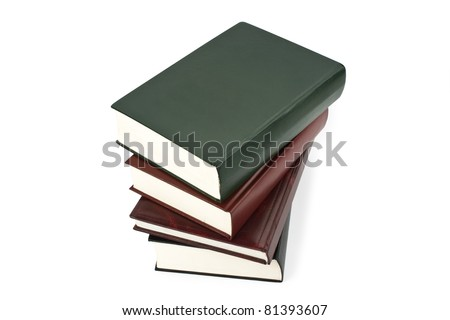 books stack isolated on the white - stock photo