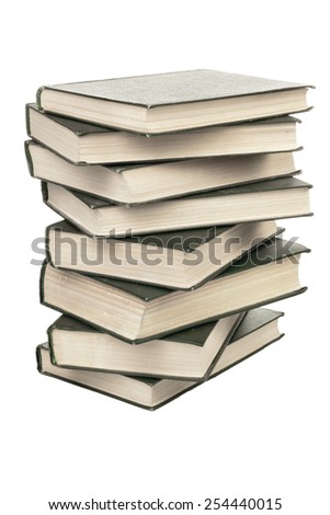 Books stack isolated on white background - stock photo