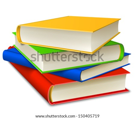 Books Stack isolated on white background. Education learning concept.