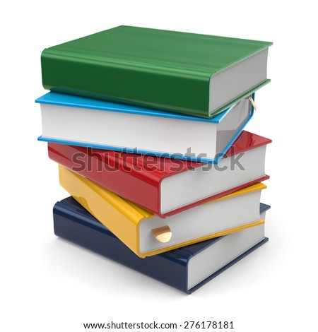 Books stack of book blank covers colorful five textbook bookmark. School studying information content learn icon concept. 3d render isolated on white background - stock photo