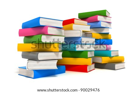 Books stack over white
