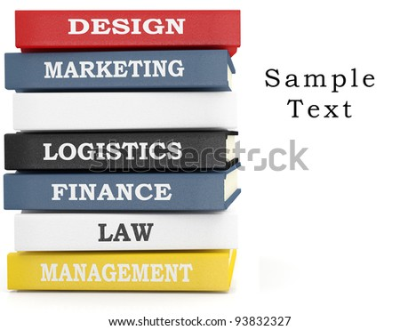 Books stack - various subjects. 3D illustration - stock photo