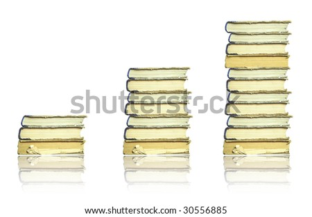 Books stacks isolated on white - stock photo