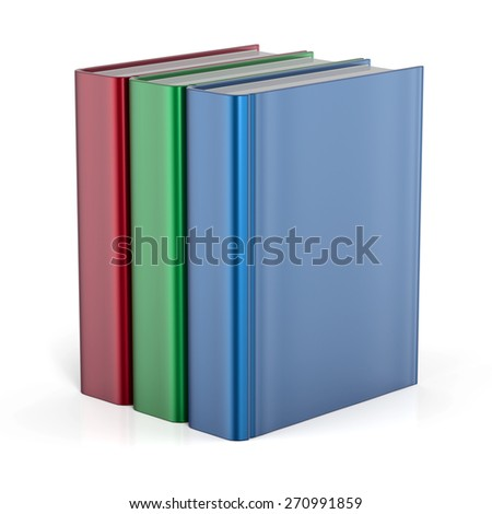 Books standing three blank cover no labels template textbook red green blue. School college learning information content icon concept. 3d render isolated on white background - stock photo