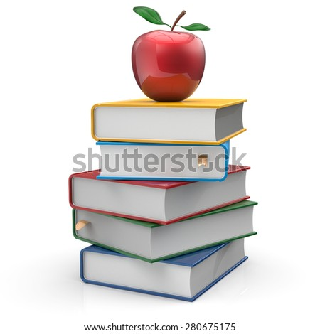 Books textbook multicolored red apple education studying reading learning school college knowledge wisdom idea icon colorful concept. 3d render isolated on white - stock photo